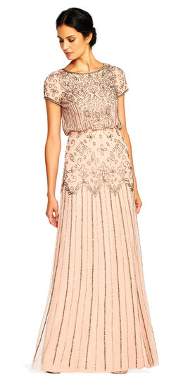Downton Abbey Inspired Dresses Short Sleeve Blouson Beaded Gown $199.00 AT vintagedancer.com