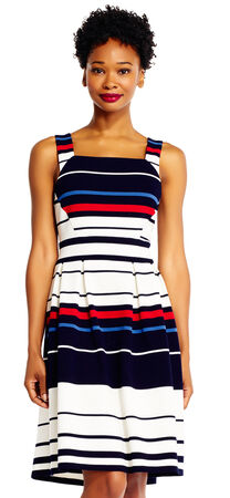 Colorblock Stripe Print Fit and Flare Dress