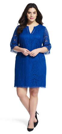 Split Neck Lace Dress