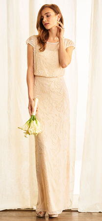 Cap Sleeve Beaded Blouson Dress with Sheer Neckline