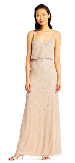 Vintage Inspired Bridesmaid Dresses, Mothers Dresses Diamond Sequin Beaded Blouson Dress $349.00 AT vintagedancer.com