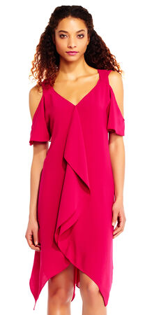 Cold Shoulder Draped Crepe Dress with Criss Cross Back