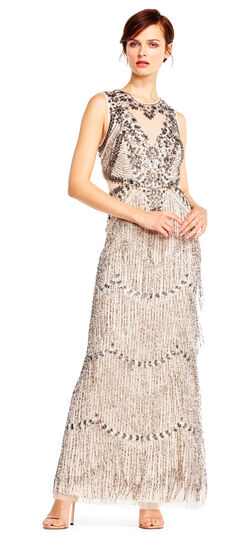 Vintage Inspired Wedding Dresses Fringe Beaded Column Gown with Sheer Details $695.00 AT vintagedancer.com