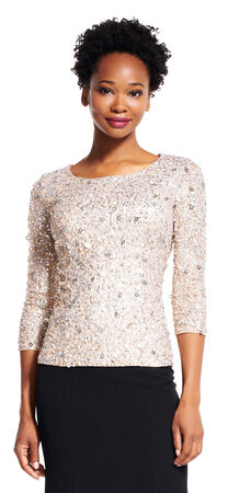 Three Quarter Sleeve Sequin Beaded Top