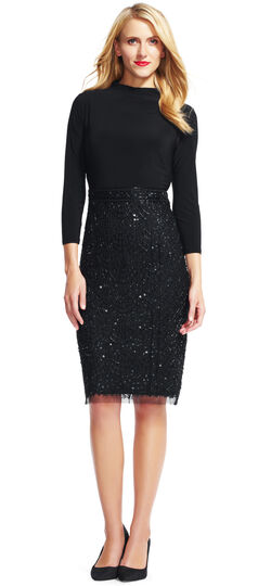 Mock Neck Cocktail Dress with Bead and Sequin Skirt
