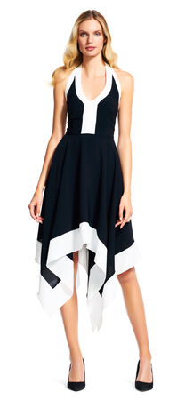 Gauzy Halter Colorblock Dress with Asymmetrical Skirt