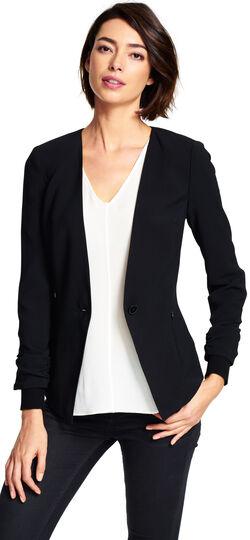 One-Button Blazer with Sweater Trim