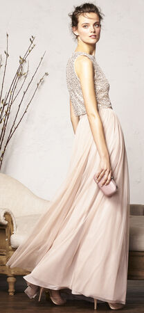 Sequin Halter Dress Set with Chiffon Skirt