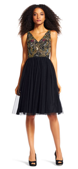 Ornately Beaded Party Dress with Tulle Skirt