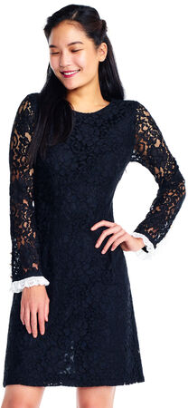 Sheer Long Sleeve Lace Shift Dress with Contrast Trim
