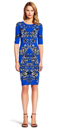 Scoop Neck Jacquard Knit Dress