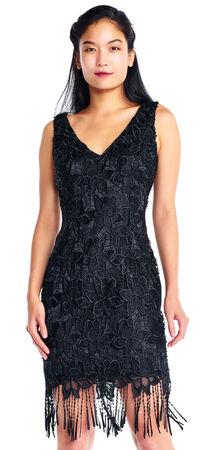 Sleeveless Floral Lace Sheath Dress with Fringe Hem