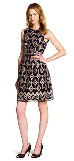 Geometric Print Fit and Flare Dress