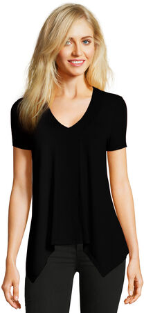 Short Sleeve Asymmetrical V-Neck Top with Embroidered Panel