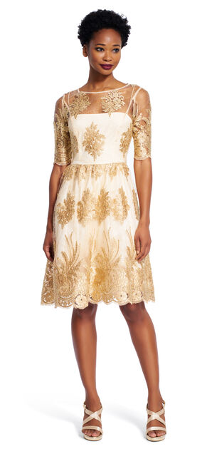 Metallic Lace Fit and Flare Dress $229.00 AT vintagedancer.com