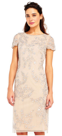 Vine Beaded Sheath Dress with Flounce Sheer Short Sleeves