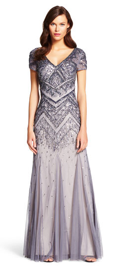 DowntonAbbeyInspiredDresses Beaded Mesh Mermaid Gown $110.70 AT vintagedancer.com