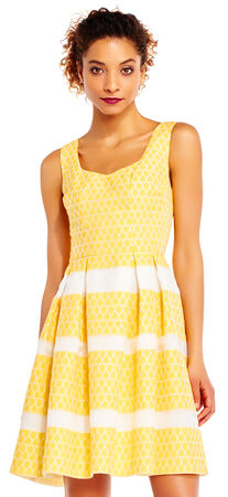 Lemon Drop Fit and Flare Dress with Stripe Skirt