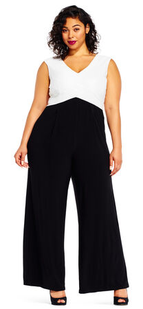 Sleeveless Colorblock Jersey Jumpsuit with Wide Legs