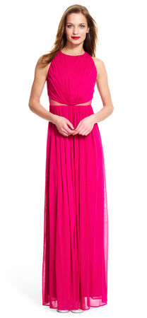 Ruched Halter Dress with Sheer Mesh Waist
