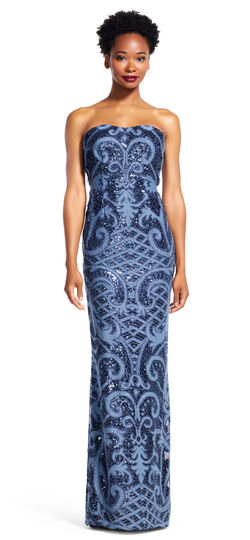 Strapless Sequin Lace Gown with Filigree Embroidered