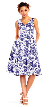 Floral Faille Midi Dress with V-Neck and Back