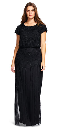 Short Sleeve Blouson Beaded Gown