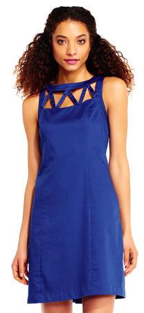 Sleeveless Shift Dress with Lattice Cutout Neckline