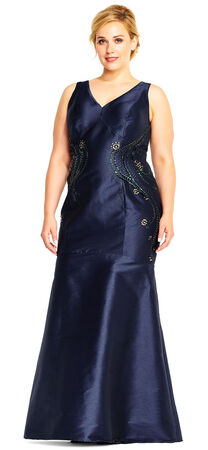 Faille Trumpet Dress with Beaded Side Accents and V-Back