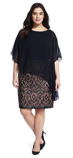 Applique Shift Dress with Capelet