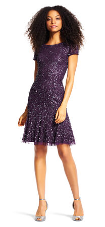 Sequin Cocktail Dress with Godets and Short Sleeves