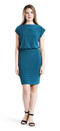 Shutter Pleated Blouson Sheath Dress