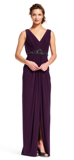 Vintage Evening Dresses Draped Dress with Beaded Waist and Cowl Back $189.00 AT vintagedancer.com