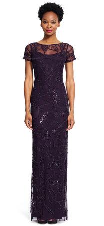 Short Sleeve Illusion Neckline Gown