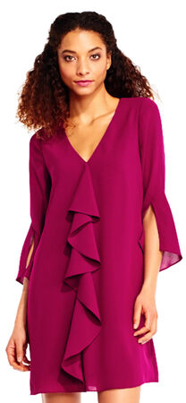 Bell Sleeve Crepe Dress with Corkscrew Draping