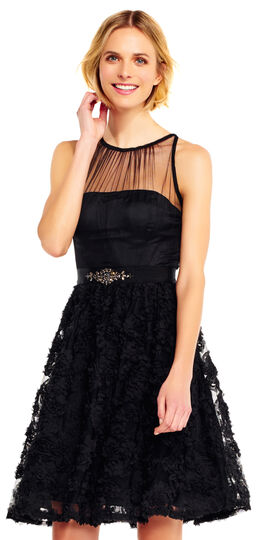 Retro Style Dresses Petal Chiffon Halter Dress $219.00 AT vintagedancer.com