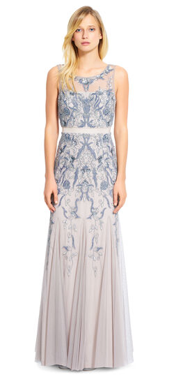 Beaded Illusion Neck Gown