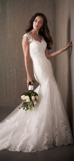 Cap Sleeve Lace Applique Mermaid Wedding Dress with Illusion Back - 31018