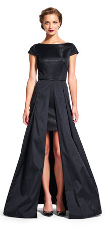 Short Sleeve Sequin Gown with Open Taffeta Ball Skirt