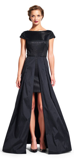 Short Sleeve Sequin Gown with Open Taffeta Ball Skirt