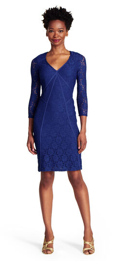 Spliced Stretch Lace Sheath Dress