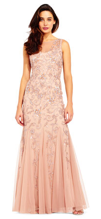 Floral and Filigree Beaded Godet Dress with Sheer Details