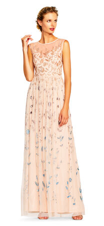 Ombre Floral Beaded Gown with Illusion Neckline