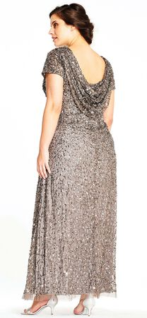 Short Sleeve Sequin Beaded Gown with Cowl Back