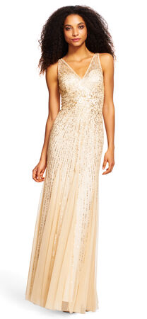 Beaded Mermaid Gown with Illusion Bodice