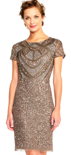 Downton Abbey Inspired Dresses Short Sleeve Sequin Cocktail Dress with Beaded Design $211.65 AT vintagedancer.com