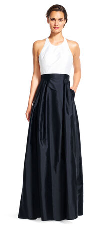 Colorblock Halter Ball Gown with Open Back