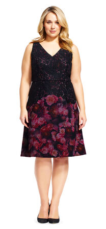 Floral and Lace Fit and Flare Dress with V-Back