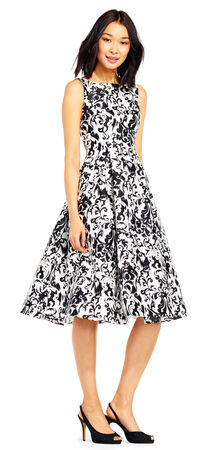 Sleeveless Mikado Printed Party Dress