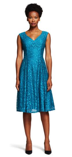 V-Neck Lace Fit & Flare Dress